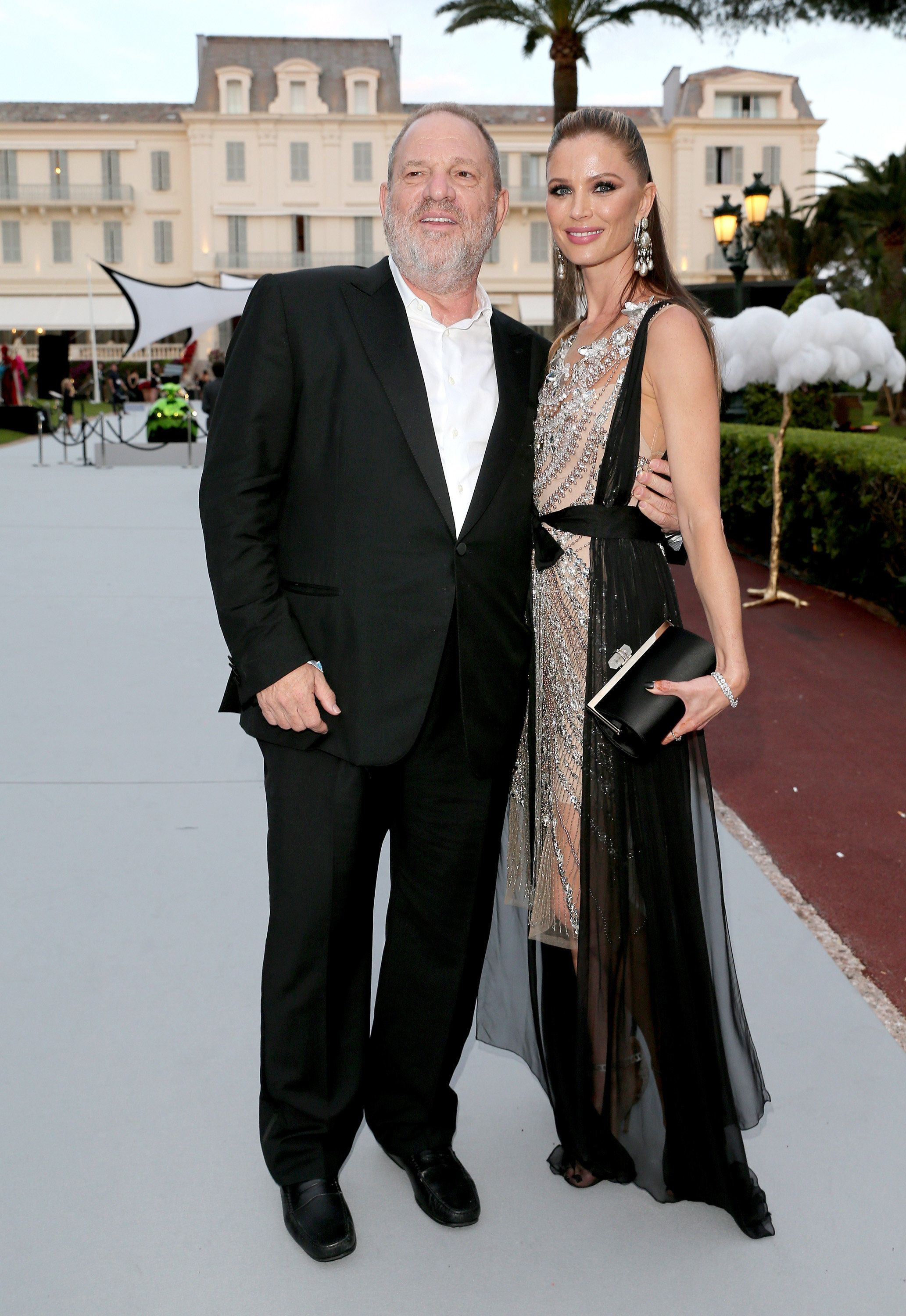 CAP D'ANTIBES, FRANCE - MAY 25:  Film producer Harvey Weinstein (L) and Georgina Chapman arrive at the amfAR Gala Cannes 2017 at Hotel du Cap-Eden-Roc on May 25, 2017 in Cap d'Antibes, France.  (Photo by Gisela Schober/Getty Images)