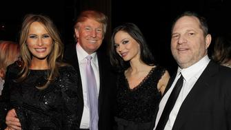 NEW YORK - DECEMBER 15:  (L-R) Melania Trump, Donald Trump, Georgina Chapman and Harvey Weinstein attend the after party of the New York premiere of 'NINE' at the M2 Ultra Lounge on December 15, 2009 in New York City.  (Photo by Stephen Lovekin/Getty Images for The Weinstein Company)