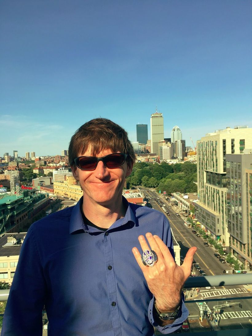 Corey Snow, a CRM trailblazer and champion, wearing the Patriots 2016 Super Bowl championship ring, Boston