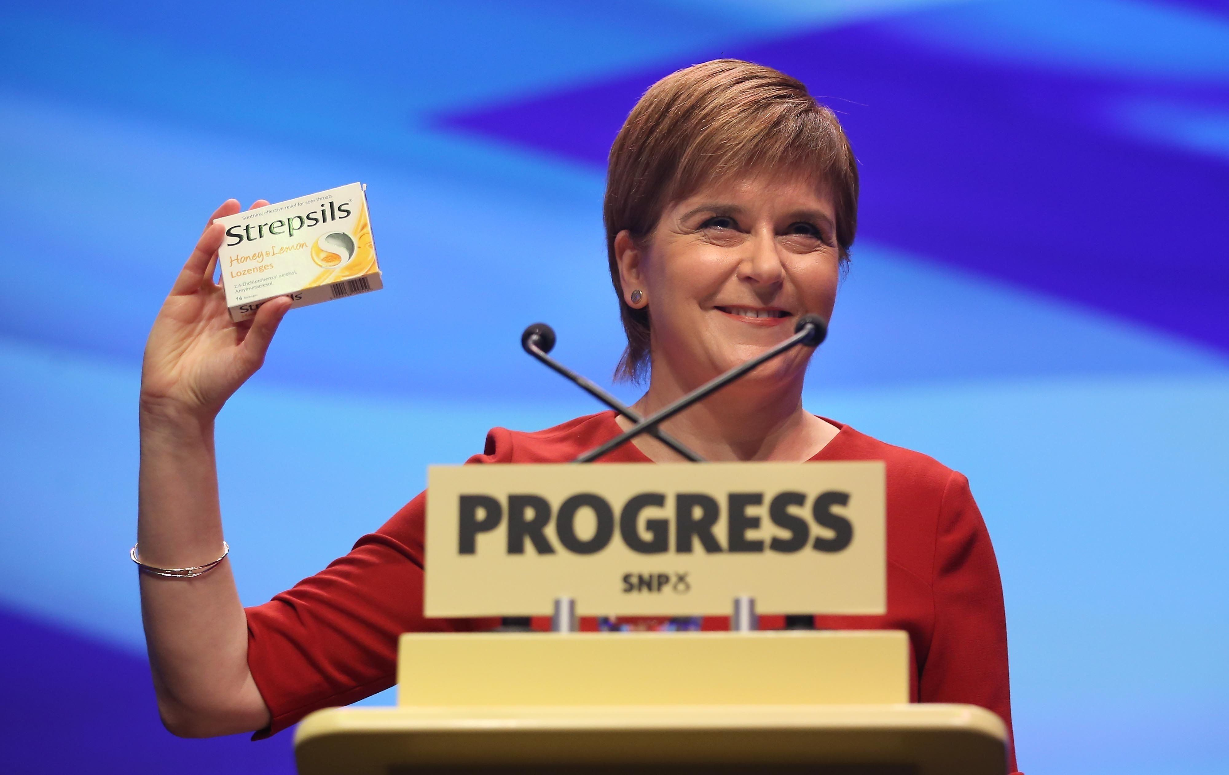 Sturgeon Mocks May With Box Of Strepsils As She Outlines Bold Green