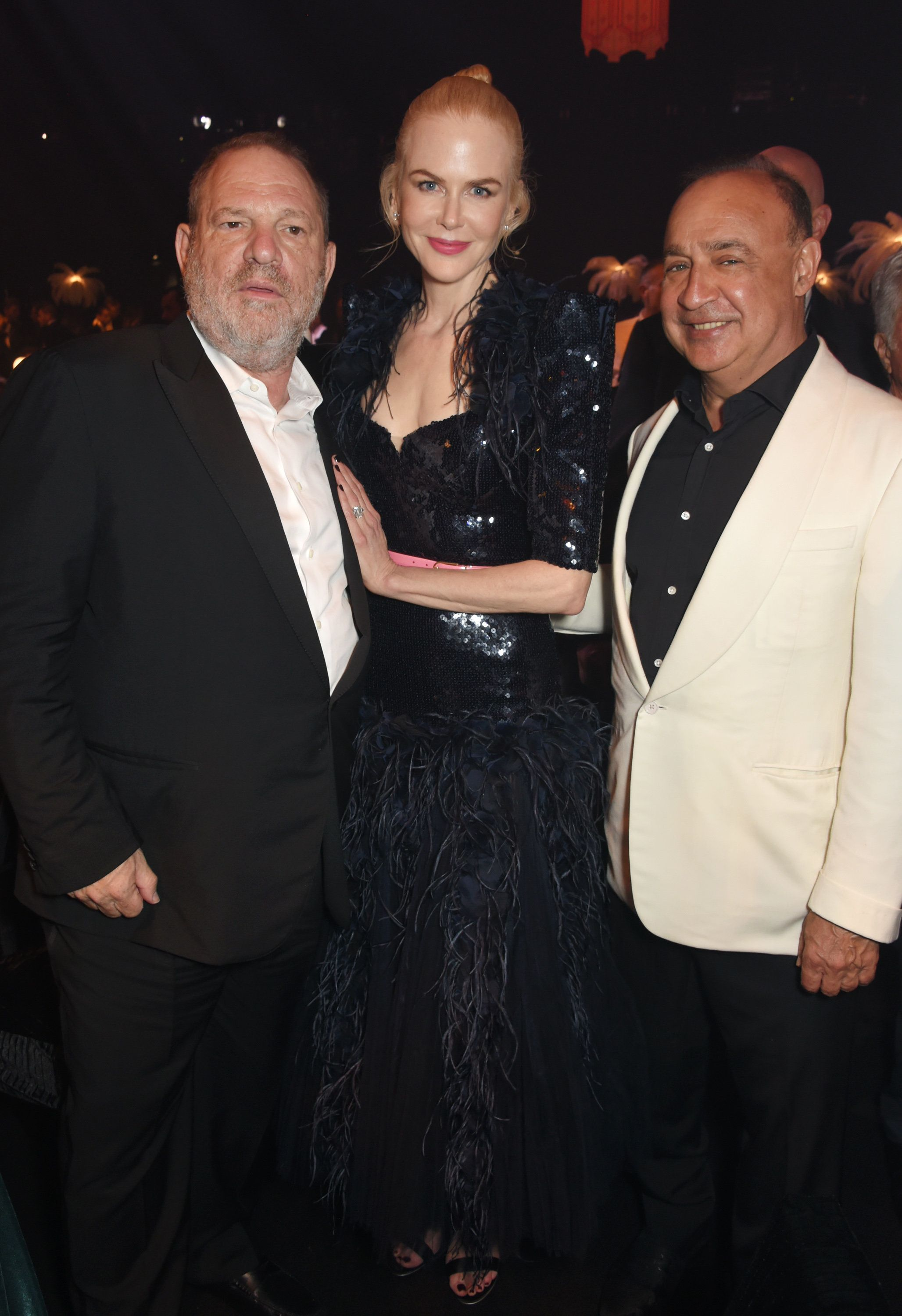 CAP D'ANTIBES, FRANCE - MAY 25:  (L to R) Harvey Weinstein, Nicole Kidman and Len Blavatnik attends the amfAR Gala Cannes 2017 at Hotel du Cap-Eden-Roc on May 25, 2017 in Cap d'Antibes, France.  (Photo by Dave Benett/amfAR2017/Dave Benett/WireImage for amfAR   )