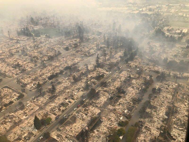 An aerial photo of the devastation left behind from wildfires in Northern California, Oct. 9,
