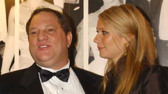 Film producer Harvey Weinstein and actress Gwyneth Paltrow arrive for the 50th anniversary gala of the NFT at the National Film Theatre on the South Bank in London.   (Photo by Yui Mok - PA Images/PA Images via Getty Images)