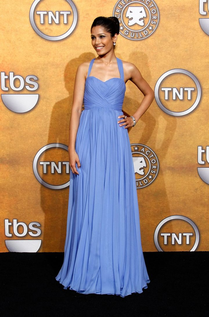 "Frieda Pinto in Marchesa at the 2009 SAG Awards. She starred in The Weinstein Company's ""Miral."""