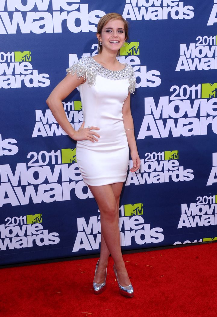 "Emma Watson in Marchesa at the 2011 MTV Movie Awards. She starred in The Weinstein Company's ""My Week With Marilyn."""