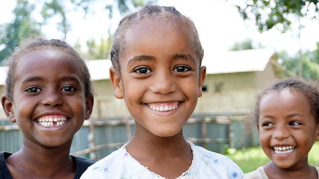 Smiling primary school students in Ethiopia
