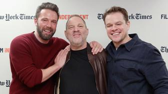 NEW YORK, NY - OCTOBER 07:  Actor Ben Affleck, producer Harvey Weinstein and actor Matt Damon attend the Film Independent NYC 'Live Read' at NYU Skirball Center on October 7, 2016 in New York City.  (Photo by Mireya Acierto/WireImage)