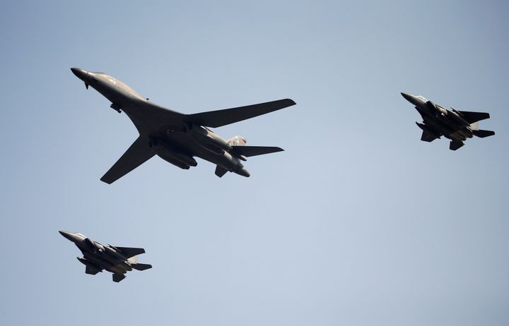 A U.S. Air Force B-1B bomber flies over Osan Air Base in Pyeongtaek, South Korea.