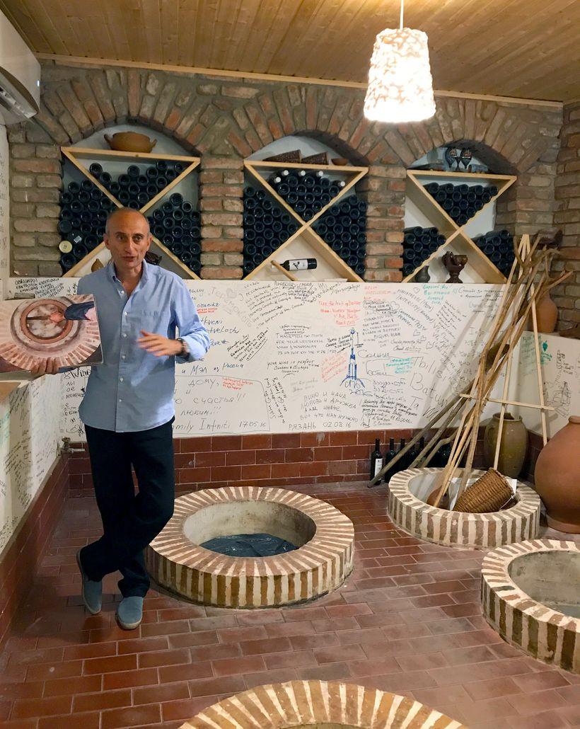 Iago explaining organic winemaking at his eponymous winery.