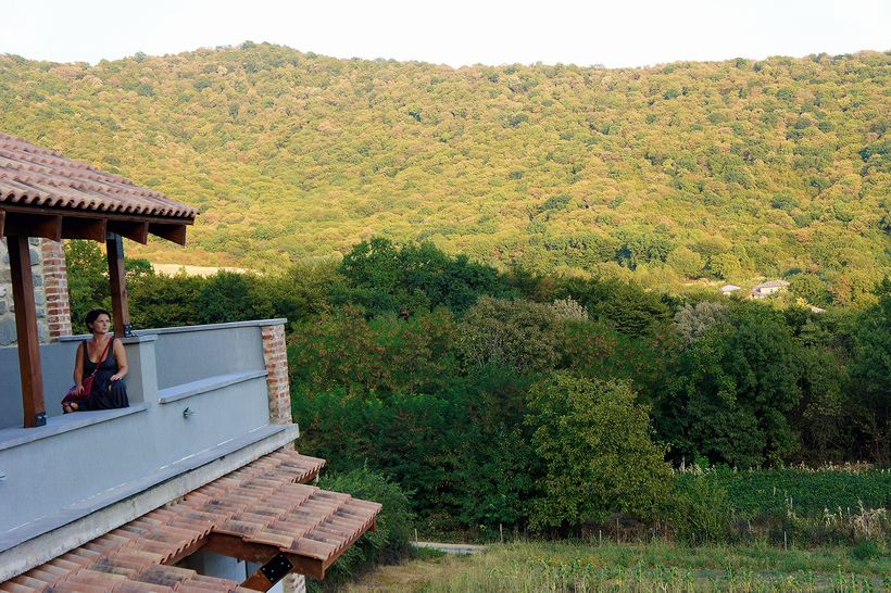 Masha Bojgua enjoying the view from Babneuri's roof patio