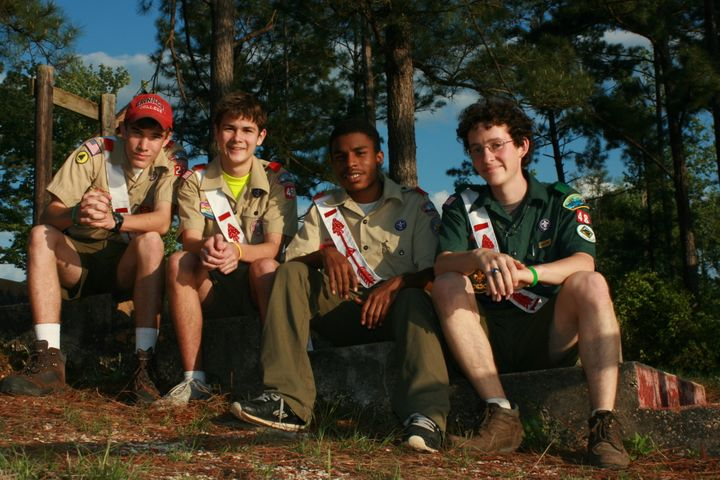 Dwayne (second from the right) with friends at Salmen Scout Reservation.