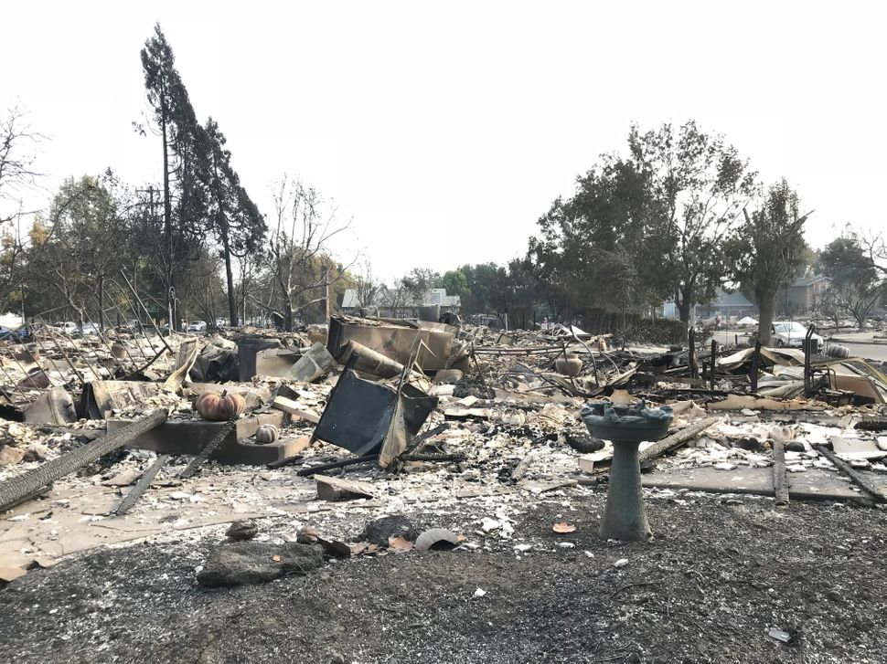 Ashes and debris litter the ground where the Heims' house once stood in Santa Rosa.<br><br><i></i>