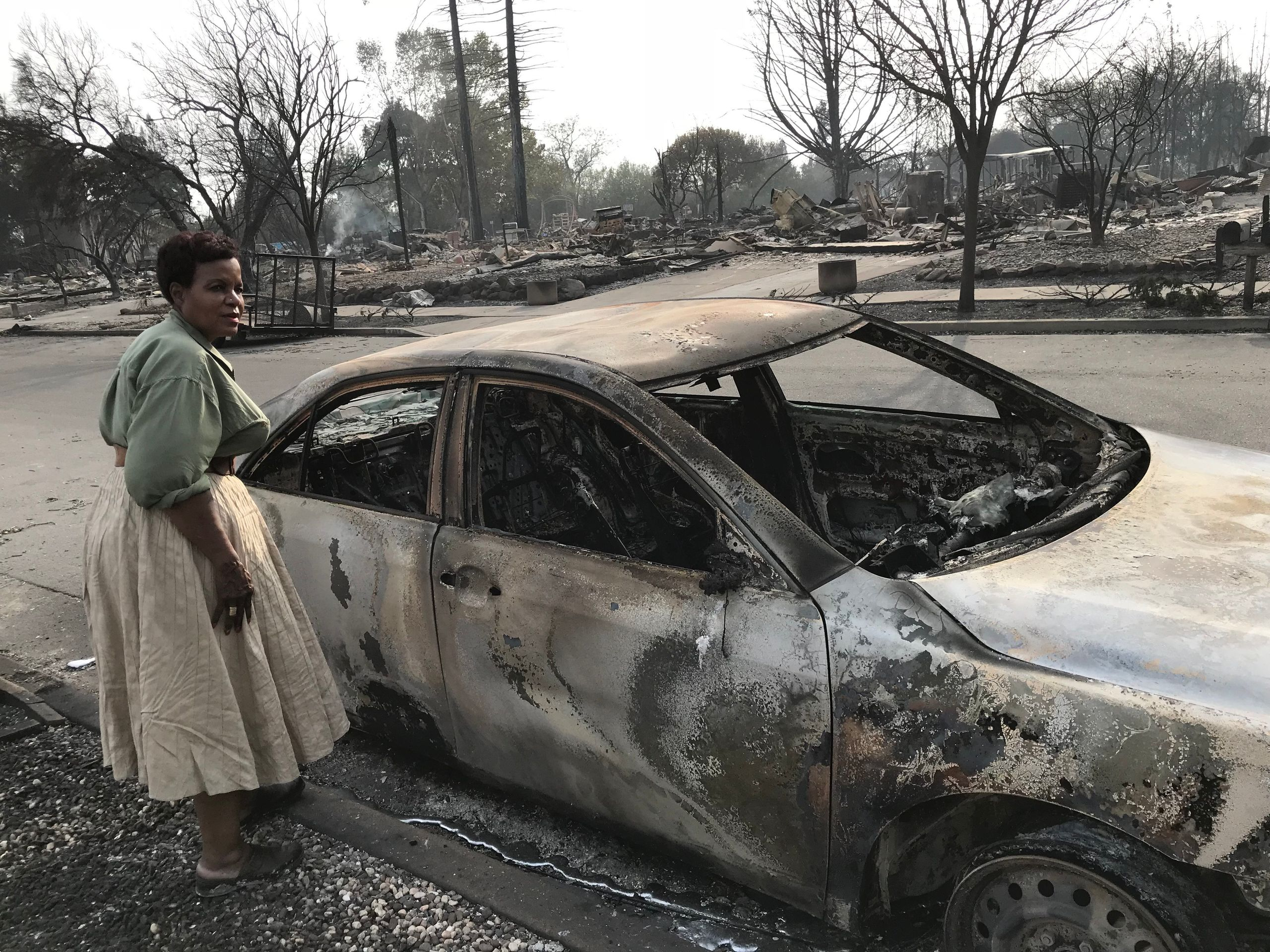 Marion Heim's incinerated car was about the only thing still recognizable at her property in Santa Rosa in the days after the