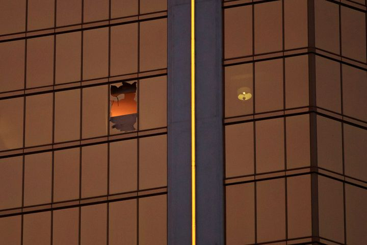 Stephen Paddock shot at a Las Vegas country music festival from a shattered window in his 32nd-floor suite at the MGM-ow