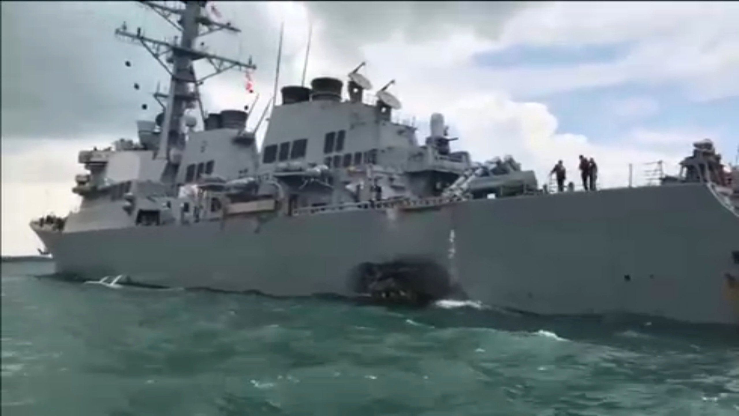 The USS John S. McCain, as seen after a collision in August in Singapore waters.