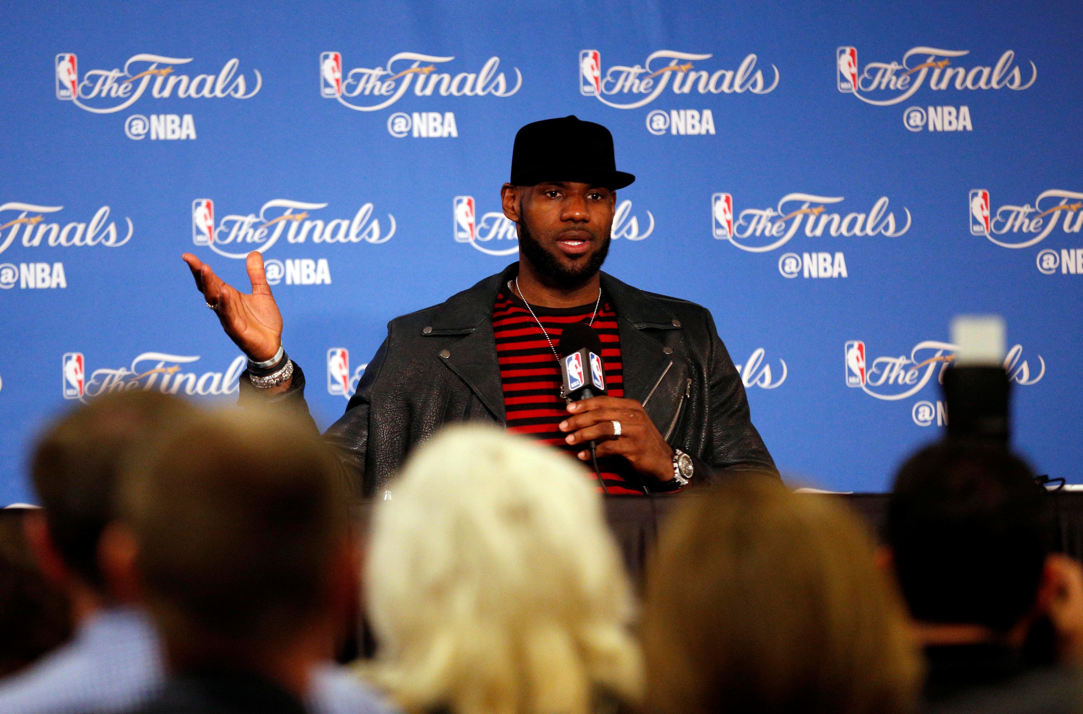 Jun 12, 2017; Oakland, CA, USA; Cleveland Cavaliers forward LeBron James at a press conference after game five of the 2017 NBA Finals against the Golden State Warriors at Oracle Arena. Mandatory Credit: Cary Edmondson-USA TODAY Sports     TPX IMAGES OF THE DAY
