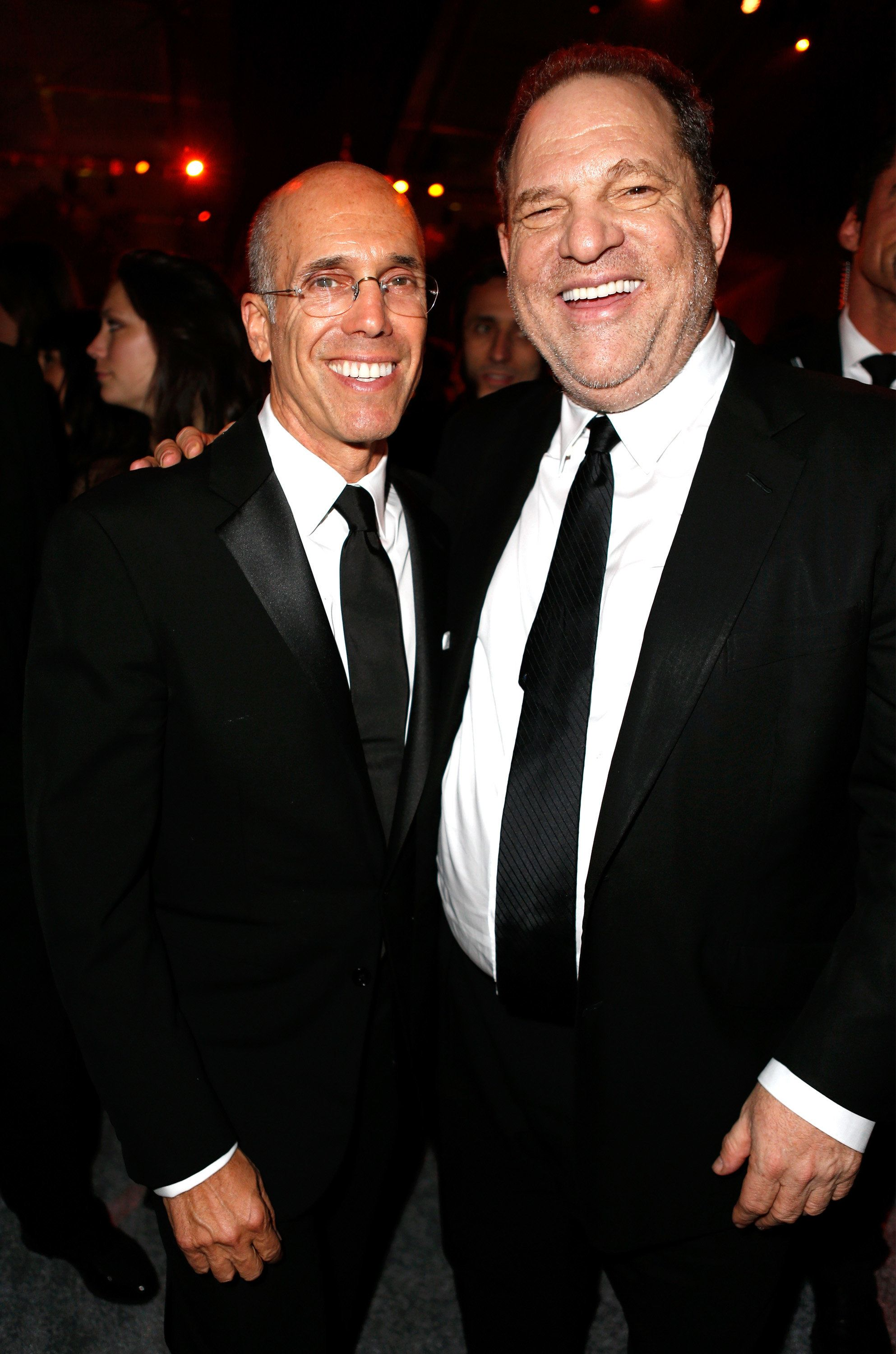 BEVERLY HILLS, CA - JANUARY 11:  DreamWorks Animation CEO Jeffrey Katzenberg  (L) producer Harvey Weinstein attend The Weinstein Company & Netflix's 2015 Golden Globes After Party presented by FIJI Water, Lexus, Laura Mercier and Marie Claire at The Beverly Hilton Hotel on January 11, 2015 in Beverly Hills, California.  (Photo by Jeff Vespa/Getty Images for TWC)