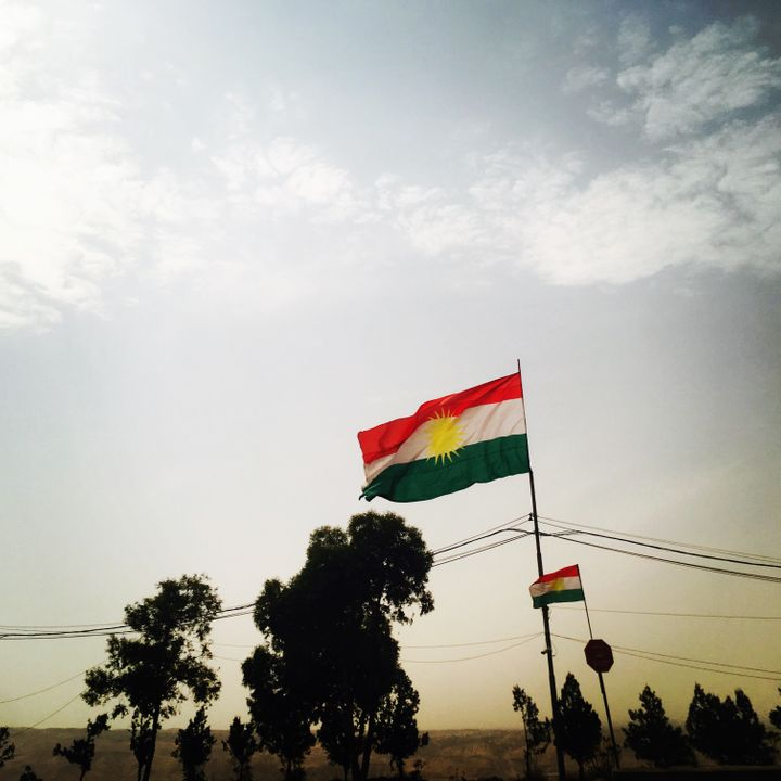 Kurdish Flag on the road between <em>Salahaddin and Erbil, the 26th of September 2017.</em>