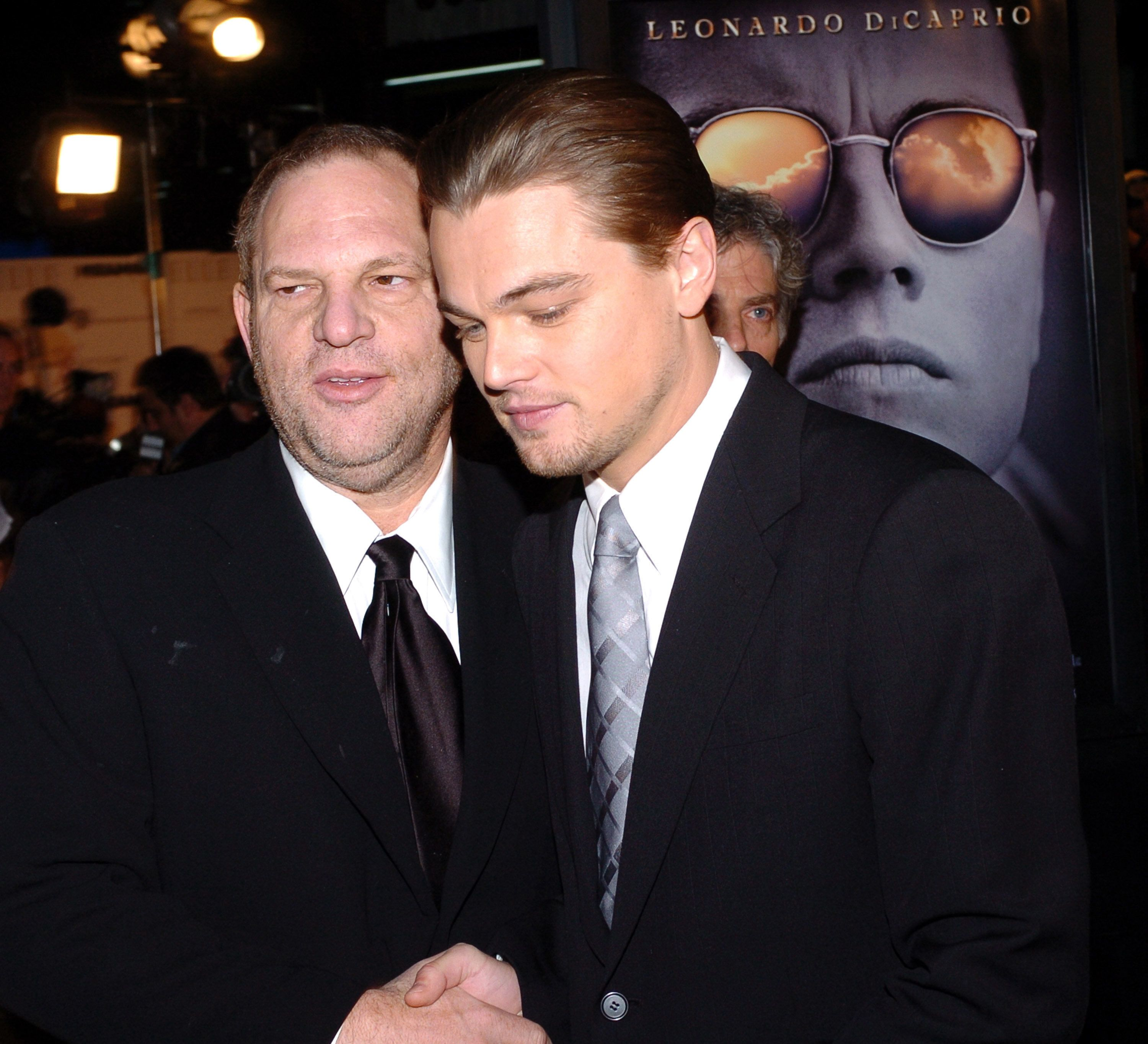 Harvey Weinstein and Leonardo DiCaprio during 'The Aviator' Los Angeles Premiere - Red Carpet at Graumann's Chinese in Los Angeles, California, United States. (Photo by L. Cohen/WireImage)