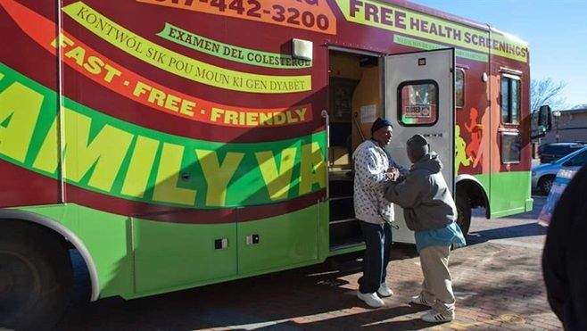 The Family Van makes a stop in Boston. Mobile health clinics are assuming a more prominent role in the U.S. health care syste