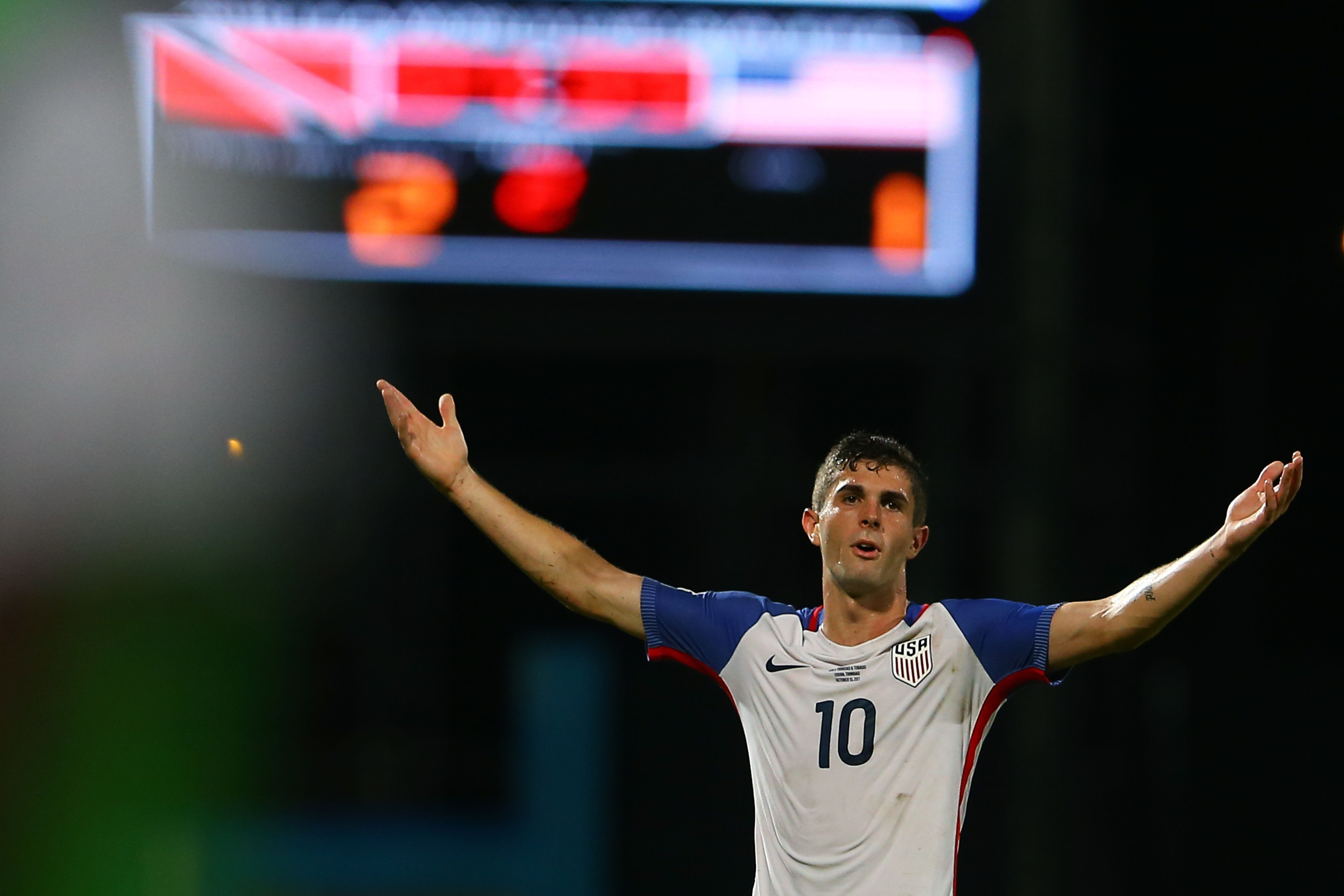 Christian Pulisic of the United States men's national team reacts to the referee's call during the FIFA World Cup Qualifier m