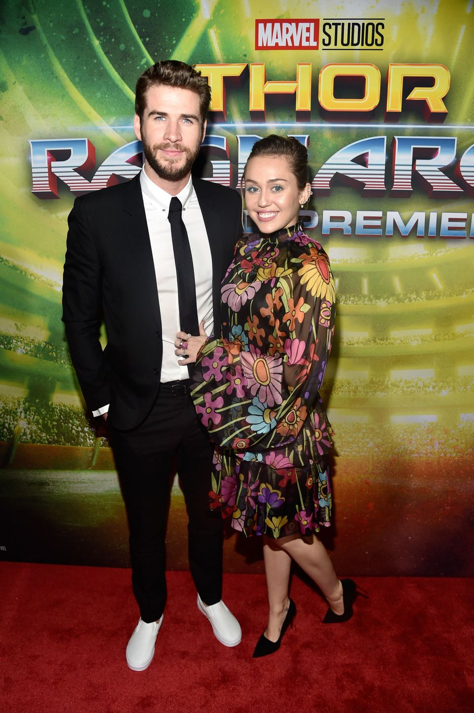"Liam Hemsworth and Miley Cyrus at The World Premiere of Marvel Studios' ""Thor: Ragnarok"" at the El Capitan Theatre on Oct. 10"
