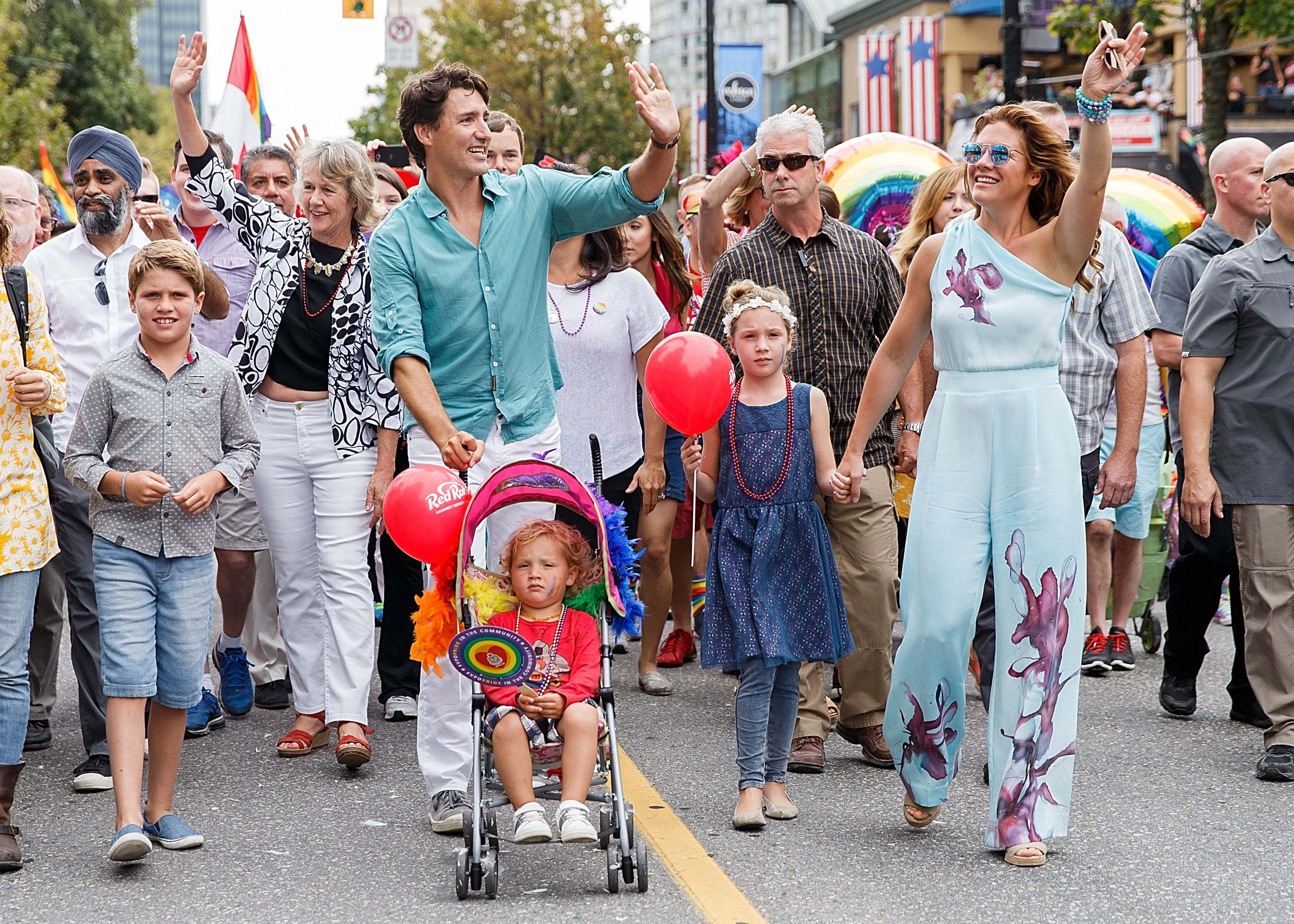Canadian Prime Minister Justin Trudeau at the 2016 Vancouver Pride Parade with his wife, philanthropist Sophie Grégoir