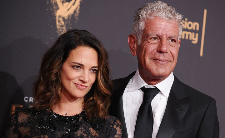 Asia Argento and Anthony Bourdain attend the 2017 Creative Arts Emmy Awards at Microsoft Theate in September.