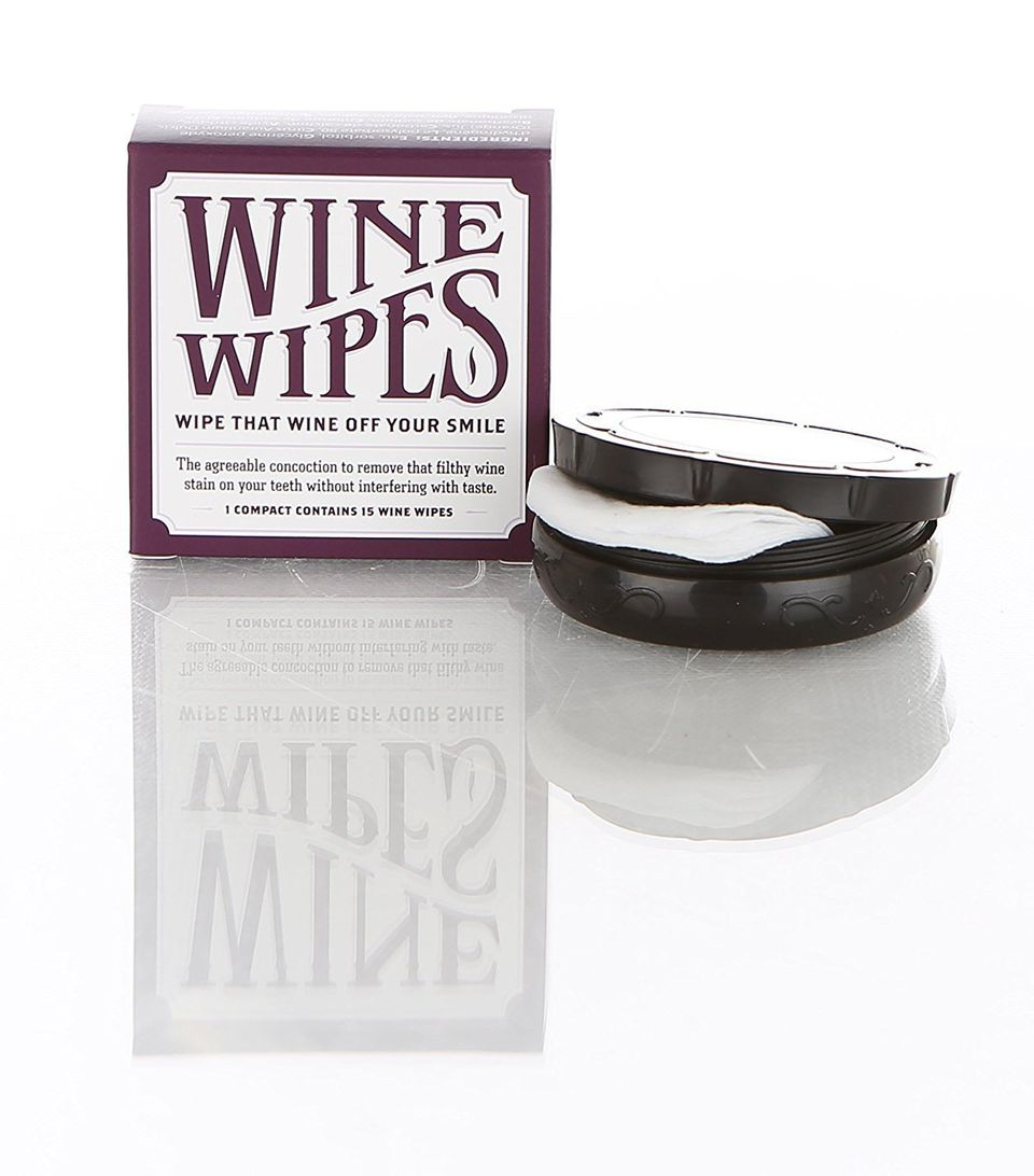 "For the person who always has a port stained pout. Get it on <a href=""https://www.amazon.com/Wine-Wipes-compact-15-wipes/dp/B"