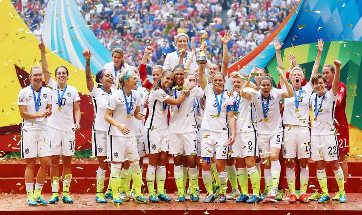 The United States celebrates winning the World Cup following the FIFA Women's World Cup Canada 2015 Final match between USA a