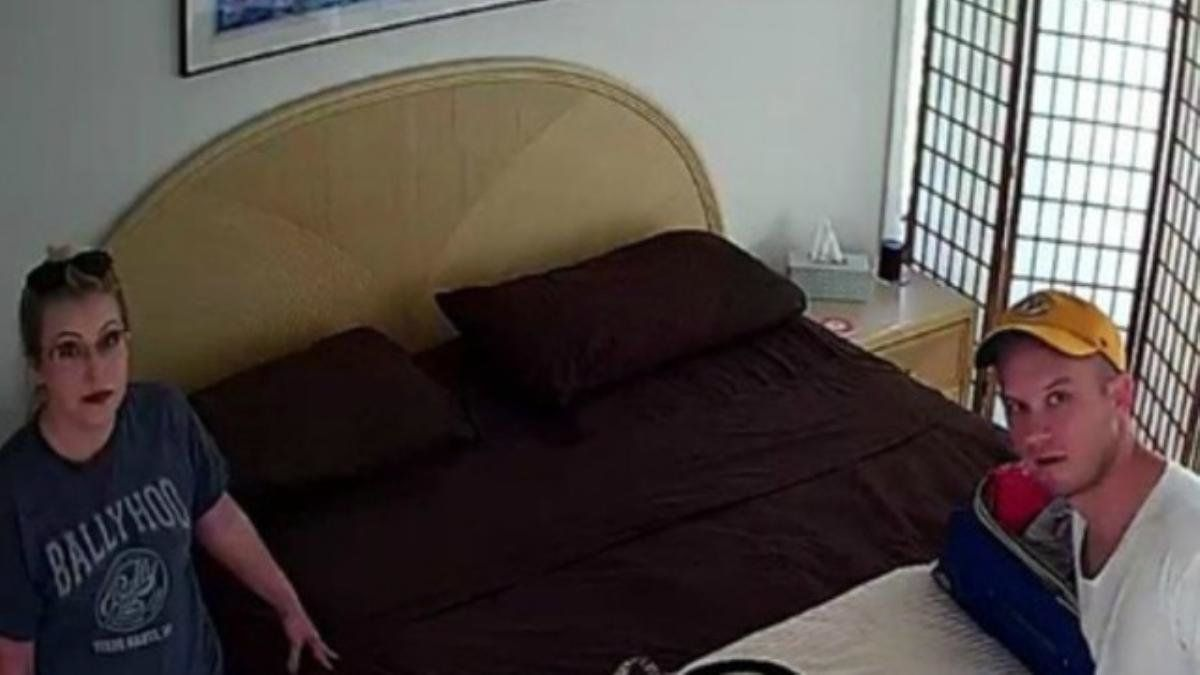 This image was reportedly taken of the couple inside the Airbnb home by the hidden camera. Thecouple...