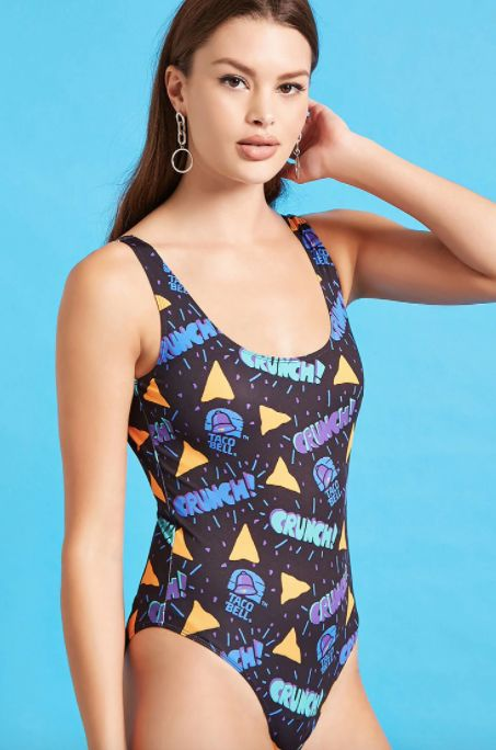 "Taco Bell crunch graphic bodysuit, <a href=""https://www.forever21.com/us/shop/Catalog/Product/f21/promo-taco-bell-collection/2000212451"" target=""_blank"">$17.90 at Forever 21</a>"