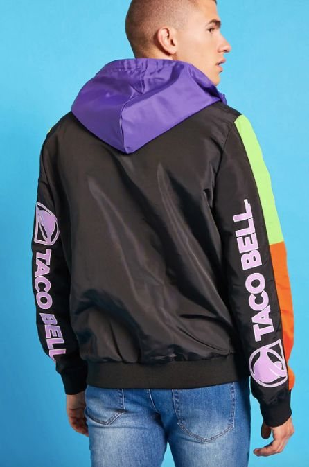 "Taco Bell anorak jacket, <a href=""https://www.forever21.com/us/shop/Catalog/Product/f21/promo-taco-bell-collection/2000216217"