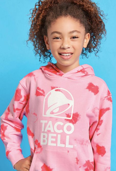 "Girls Taco Bell tie-dye hoodie, <a href=""https://www.forever21.com/us/shop/Catalog/Product/f21/promo-taco-bell-collection/200"