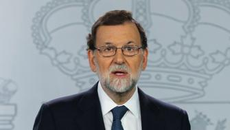Spanish Prime Minister Mariano Rajoy delivers a statement at the Moncloa Palace in Madrid, Spain, October 11, 2017. REUTERS/Sergio Perez