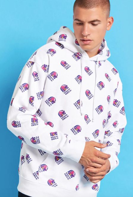 "Taco Bell print hoodie, <a href=""https://www.forever21.com/us/shop/Catalog/Product/f21/promo-taco-bell-collection/2000212150"""