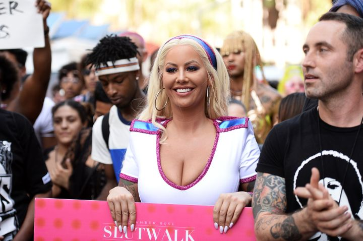 Model Amber Rose attends the third annual Amber Rose SlutWalk.