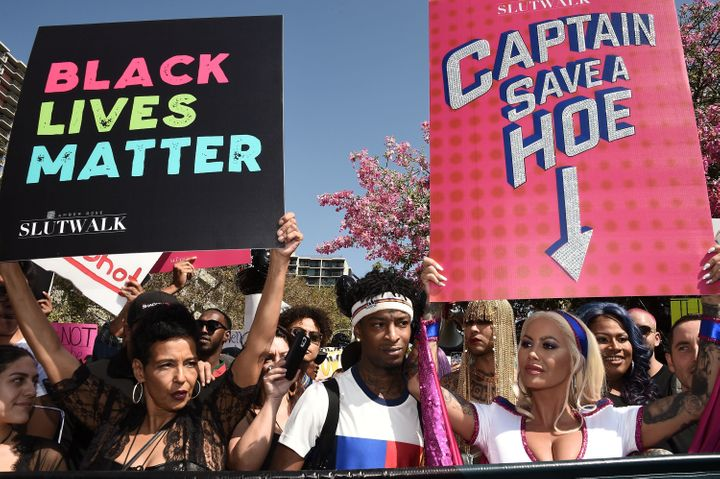 Dorothy Rose, rapper 21 Savage and model Amber Rose attend the 3rd annual Amber Rose SlutWalk on Oct. 1.