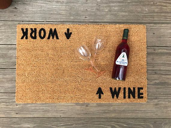 "Make a bold statement when you're coming and going. Get this doormat on <a href=""https://www.etsy.com/listing/512015258/wine-"