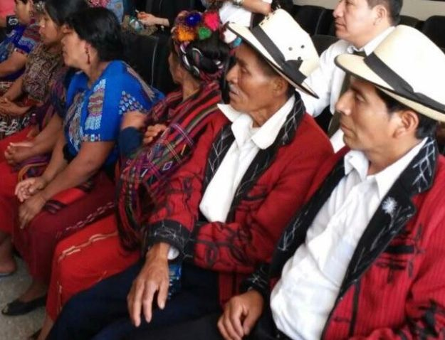 Survivors and relatives of victims from the Ixil region at the January 2015 failed retrial against Ríos Montt.
