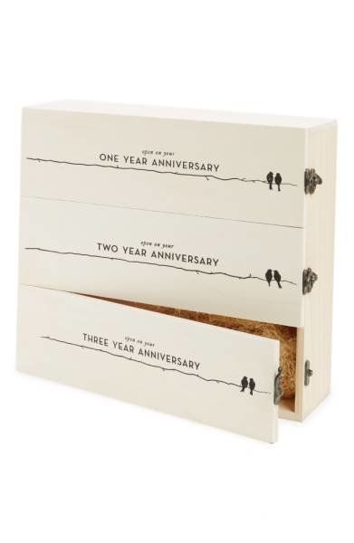 This makes a perfect gift for a recently married couple who wants to celebrate each of their upcoming celebrations with a nic