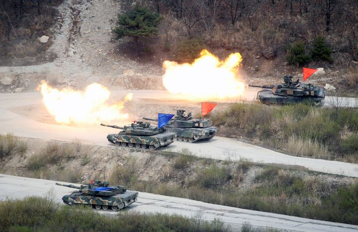 A U.S.-South Korea joint military exercise near the demilitarized zone separating North and South Korea.
