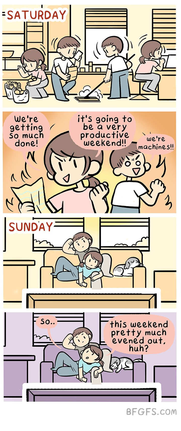 Weekends should be equal parts productive and lazy.