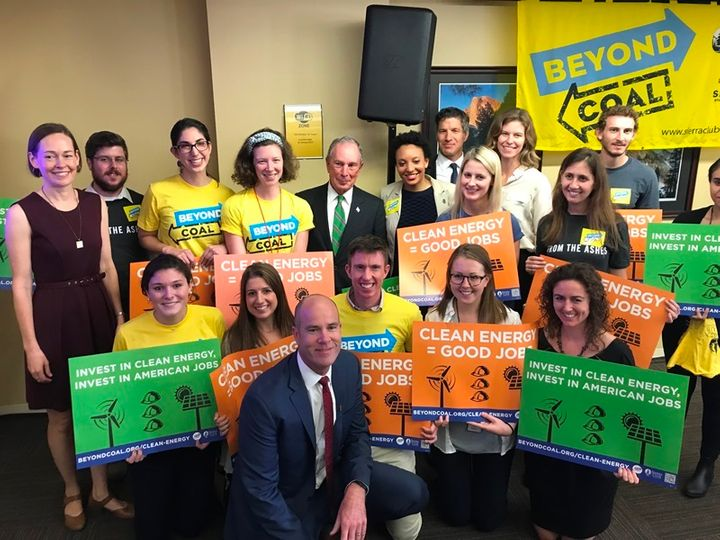 Mary Anne Hitt, Michael Bloomberg, and Michael Brune join Sierra Club staff and volunteers at the October 11 announcement.