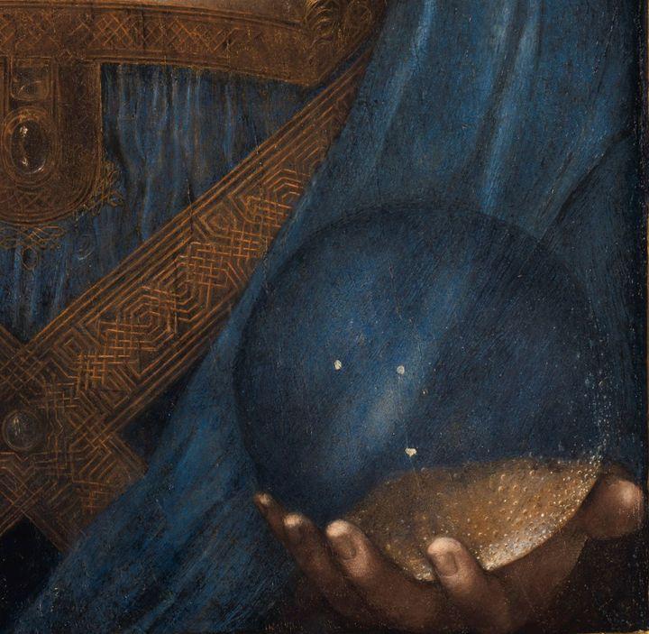 """A close-up ofLeonardo da Vinci's""""Salvator Mundi."""""""