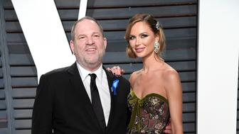 BEVERLY HILLS, CA - FEBRUARY 26:  Harvey Weinstein and Georgina Chapman arrive for the Vanity Fair Oscar Party hosted by Graydon Carter at the Wallis Annenberg Center for the Performing Arts on February 26, 2017 in Beverly Hills, California.  (Photo by Karwai Tang/Getty Images)