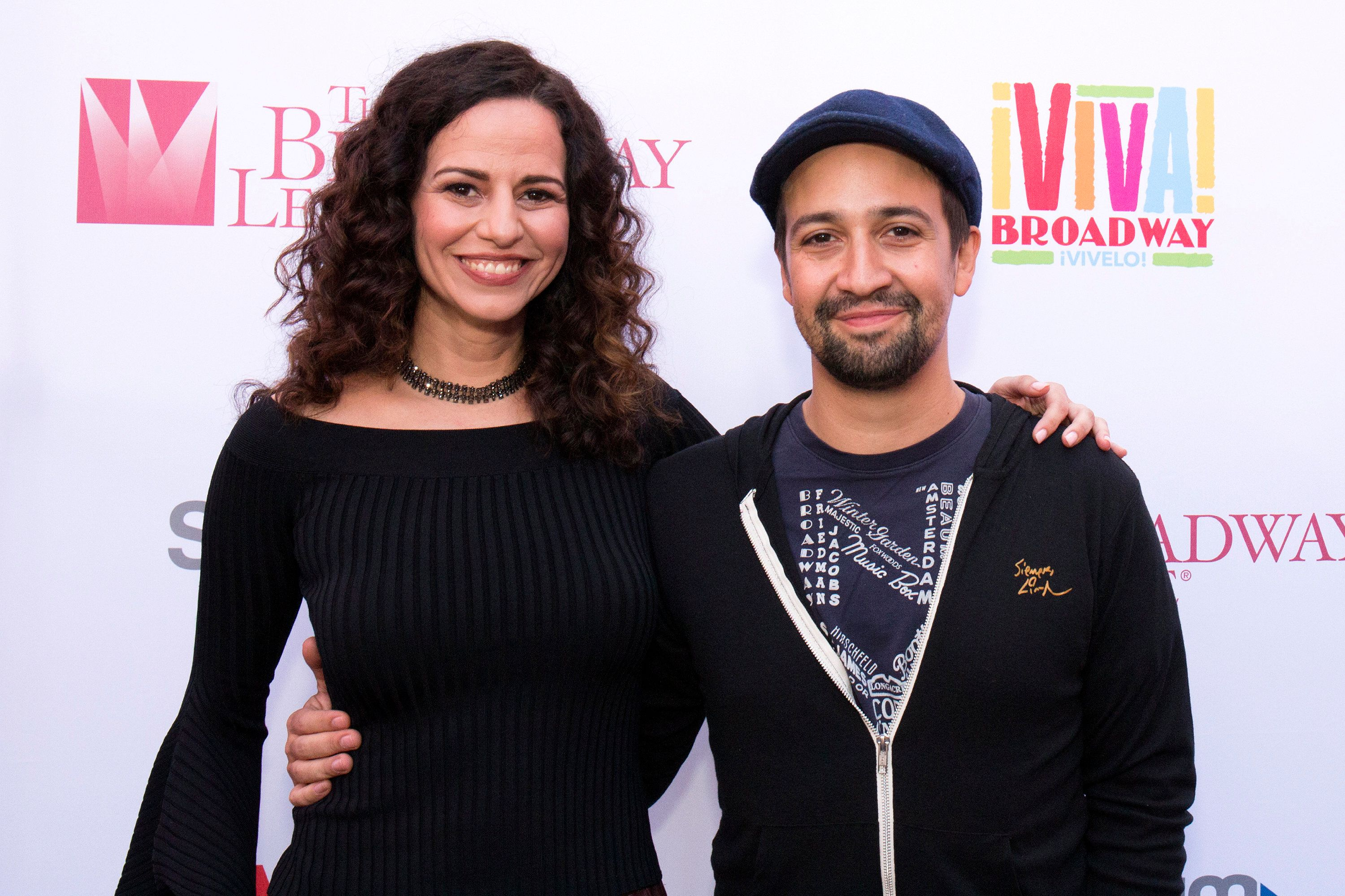 NEW YORK, NY - SEPTEMBER 15:  Mandy Gonzalez and Lin-Manuel Miranda attend Viva Broadway Special Event at Duffy Square on September 15, 2017 in New York City.  (Photo by Santiago Felipe/Getty Images)