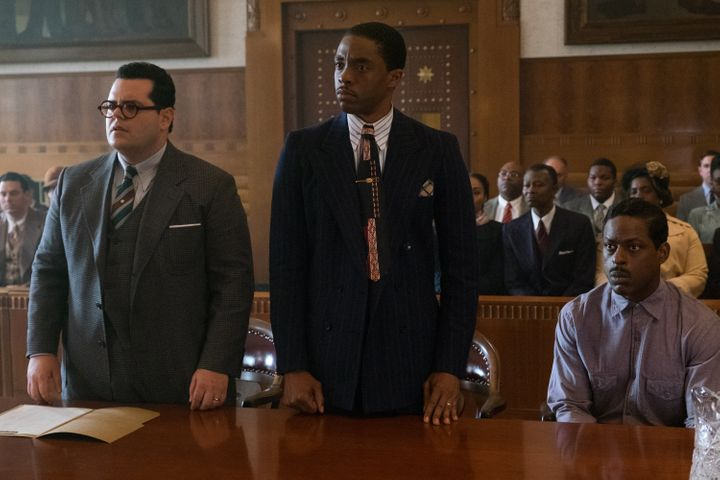 "Josh Gad, Chadwick Boseman and Sterling K. Brown star in ""Marshall."""