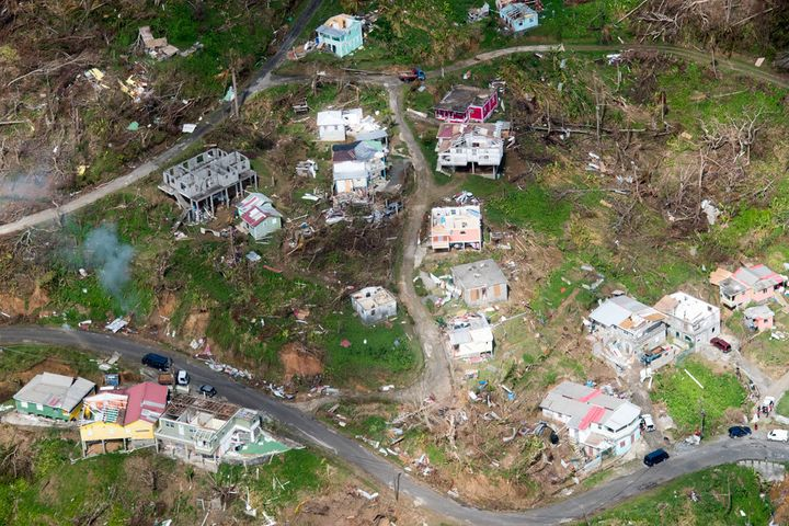 Aerial view of the devastation in Dominica following successive category 5 hurricanes in September 2017.