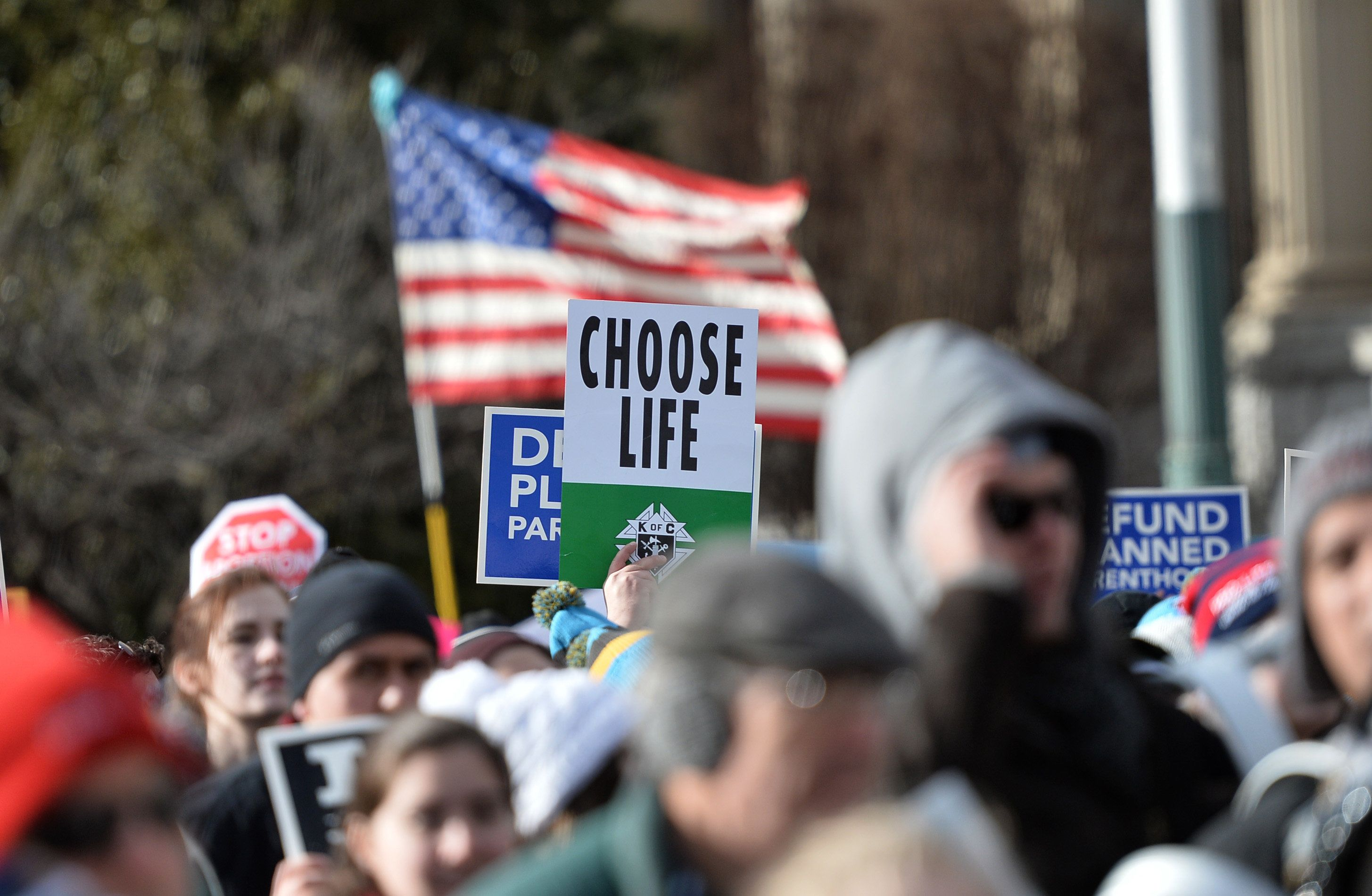 Anti-abortion protesters march in Washington, D.C., at the annual March for Life in January. Official government languag